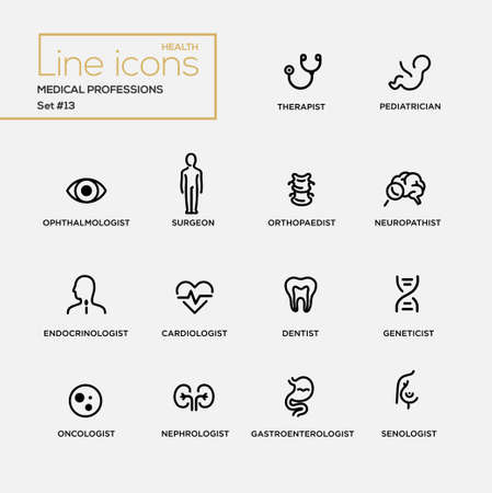 Medical professions - set of modern vector plain simple thin line design icons and pictograms. Therapist, pediatrician, surgeon, neuropathist, endocrinologist, cardiologist, dentist, oncologist Imagens - 62434539