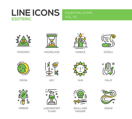 masonry: Esoteric - set of modern vector line design icons and pictograms. Masonry, hourglass, candle, scroll, moon, key, sun, hand palm, mirror, laboratory flask skull and dagger snake Illustration