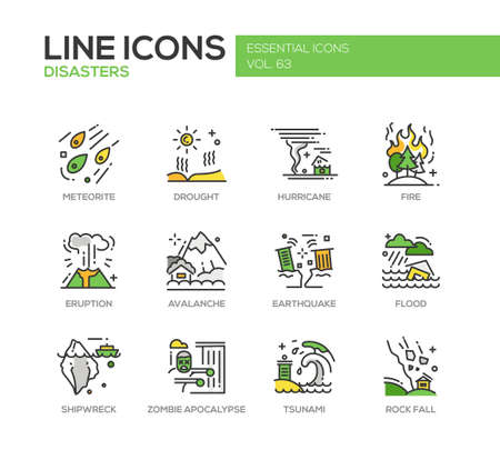 Disasters - set of modern vector line design icons and pictograms. Meteorite, drought, hurricane, fire, volcano eruption, avalanche, earthquake, flood, shipwreck, zombie apocalypse tsunami rock fall Illustration