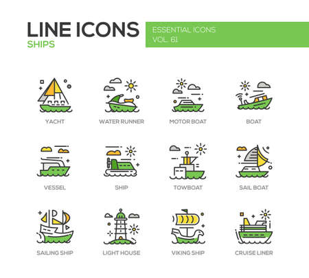 cruise liner: Ships - set of modern vector line design icons and pictograms. Yacht, water runner, motor boat, vessel, towboat, sailing ship, light house, viking ship, cruise liner