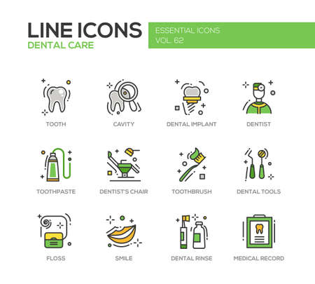 rinse: Dental care - set of modern vector line design icons and pictograms. Tooth, cavity, implant, toothpaste, dentist chair, toothbrust, tools, floss, smile rinse medical record