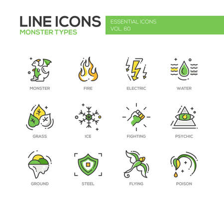 psychic: Monsters types - set of modern vector line design icons and pictograms. Fire, electric, water, grass, ice, fighting, psychic, ground steel flying poison