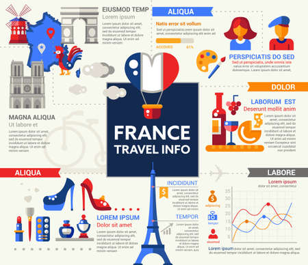 filler: Travel to France - info poster, brochure cover template layout with flat design icons of French national symbols, other elements and filler text Illustration