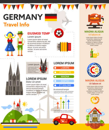 filler: Travel to Germany - info poster, brochure cover template layout with flat design icons of German national symbols, other elements and filler text