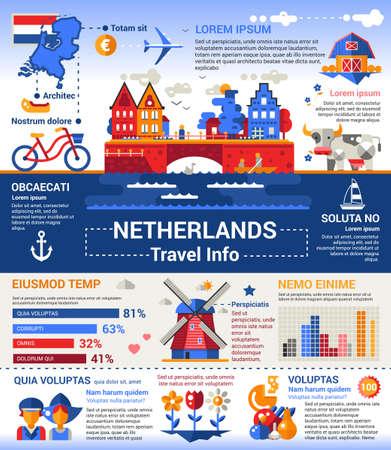 Viajar a Holanda - Info cartel, folleto de diseño de la plantilla de presentación con los iconos planos de diseño de los símbolos nacionales holandeses, otros textos y elementos de relleno Ilustración de vector