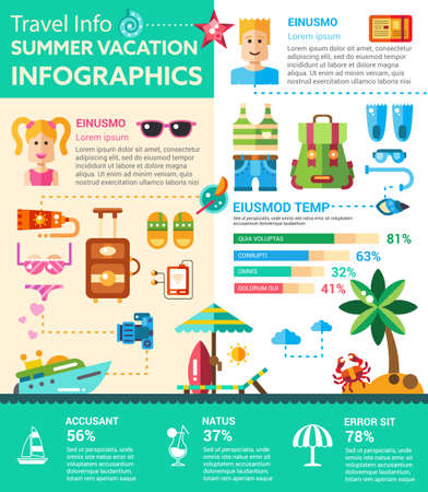 filler: Summer vacation Infographics - info poster, brochure cover template layout with flat design icons of recreation symbols, other elements and filler text