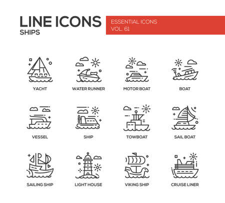 classic house: Ships - set of modern vector plain line design icons and pictograms. Yacht, water runner, motor boat, vessel, towboat, sailing ship, light house, viking ship, cruise liner