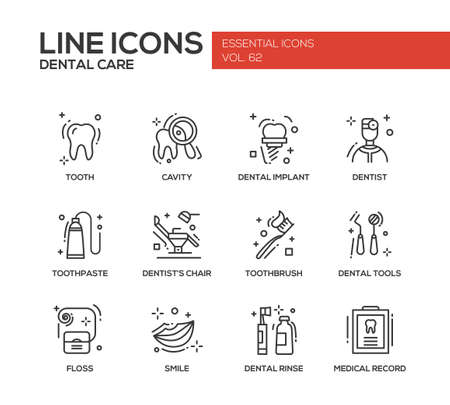 medical icons: Dental care - set of modern vector plain line design icons and pictograms. Tooth, cavity, implant, toothpaste, dentist chair, toothbrust, tools, floss, smile rinse medical record Illustration