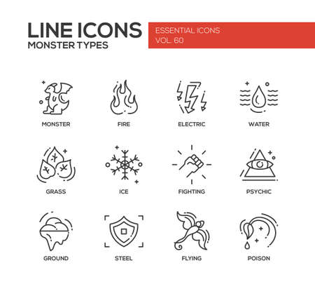 psychic: Monsters types - set of modern vector plain line design icons and pictograms. Fire, electric, water, grass, ice, fighting, psychic, ground steel flying poison