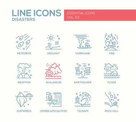 Disasters - set of modern vector plain line design icons and pictograms. Meteorite, drought, hurricane, fire, volcano eruption, avalanche, earthquake, flood, shipwreck, zombie apocalypse tsunami rock fall