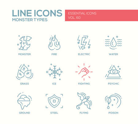 design vector: Monsters types - set of modern vector plain line design icons and pictograms. Fire, electric, water, grass, ice, fighting, psychic, ground steel flying poison