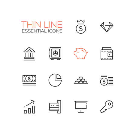 finance icons: Business, finance symbols - set of modern vector thick line design icons and pictograms. Money bag, diamond, bank, vault, piggy bank, wallet, dollar bill, pie chart, credit card, presentation, key