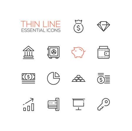 money vault: Business, finance symbols - set of modern vector thick line design icons and pictograms. Money bag, diamond, bank, vault, piggy bank, wallet, dollar bill, pie chart, credit card, presentation, key