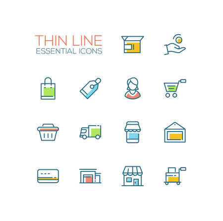 Shopping and delivery symbols - set of modern vector thick line design icons and pictograms. Box, coin, hand, bag, tag, female, cart, basket, truck, storefront, picture, credit card shop warehouse