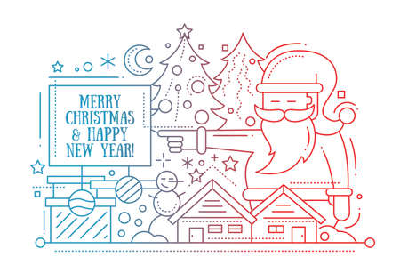 postcards: Merry Christmas and Happy New Year plain line design card with holidays symbols - Santa Claus, Christmas tree, house, snowman Illustration