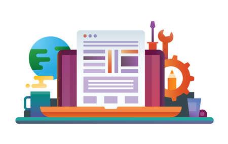 Herramientas de programación - vector ilustración de diseño plano moderno con computadora portátil, página web, lugar de trabajo y herramientas