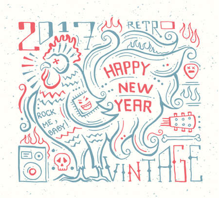 Happy New Year - vector modern flat design hipster quote illustration with a year symbol - rooster