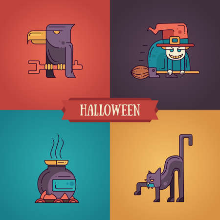 wicked set: Halloween - modern vector line flat design characters icons set. Funny scary raven, witch, pot, cat