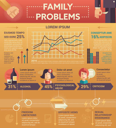 Family problems Infographics - info poster, brochure cover template layout with flat design icons, other elements and filler text
