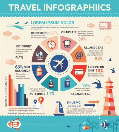 Travel Infographics - info poster, brochure cover template layout with flat design icons, other elements and filler text