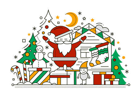 christmas candy: Merry Christmas line flat design card with holidays symbols - Santa Claus, Christmas tree, house. candy canes