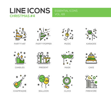 popper: Christmas and New Year - set of modern vector line design icons and pictograms. Party hat, party popper, music, karaoke, candles, present, mask, cake, champagne, balloon, clock firework