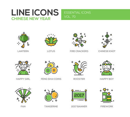 fire crackers: Chinese New Year - set of modern vector line design icons and pictograms. Lantern, lotus, fire crackers, chinese knot, happy girl, boy, feng shui coins, rooster, fan, tangerine, banner, firework