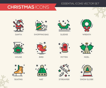 Christmas and New Year - set of modern vector line design icons and pictograms. Santa, shopping bag, sledge, wreath, house, bird, mitten. noel, skating, streamer, hat snow globe