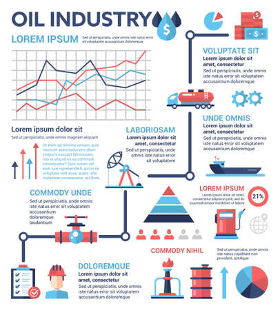 filler: Oil Industry - info poster, brochure cover template layout with flat design icons, other infographic elements and filler text