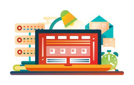 Work place -  modern flat design illustration with laptop, lamp, clock, mail, server