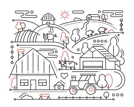rural scene: Farm - vector modern simple line flat design city composition with rural scene