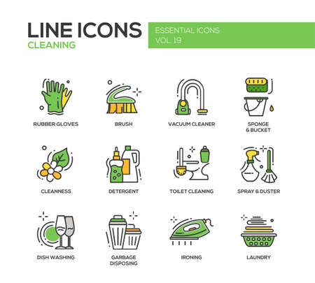 Cleaning - modern vector line design icons and pictograms set. Rubber gloves, vacuum cleaner, brush, cleanness, detergent, toilet, spray, duster, dish washing, garbage disposing ironing laundry