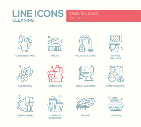 cleanness: Cleaning - modern vector line design icons and pictograms set. Rubber gloves, vacuum cleaner, brush, cleanness, detergent, toilet, spray, duster, dish washing, garbage disposing ironing laundry