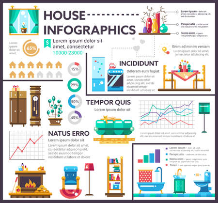 dining table: House - info poster, brochure cover template layout with flat design icons, other infographic elements and filler text