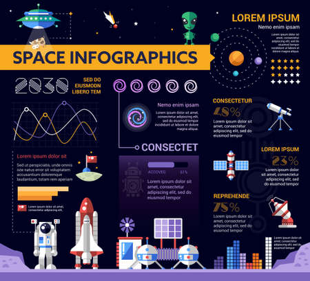 other space: The Space - info poster, brochure cover template layout with flat design icons, other infographic elements and filler text