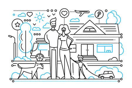家庭生活の幸せな家族を持つベクトル モダンなシンプル ライン フラットなデザイン都市構成  イラスト・ベクター素材