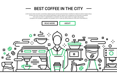 벡터 현대 간단한 라인 플랫 디자인 웹 사이트 배너의 그림, 커피 숍에서 전문 바리 스타와 헤더 일러스트