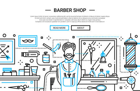 barbery: Illustration of vector modern plain line flat design website banner, header with professional barber and barbery tools Illustration