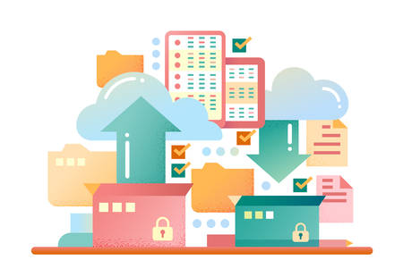 archiving: Files archiving, backup - vector modern flat design illustration with archivation process, boxes, clouds, arrows Illustration