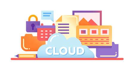 tecnología informatica: Tecnología de almacenamiento en la nube - vector moderno diseño ilustración plana con archivos, nube, de bloqueo y otros símbolos de ordenador
