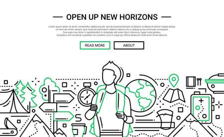 Illustration der modernen flachen Designwebsitefahne der flachen Ebene des Vektors, Titel mit dem Mann, der mit einem Rucksack reist