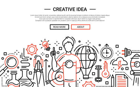 Illustration of vector modern simple line flat design website banner, header with guy having a creative idea Illustration