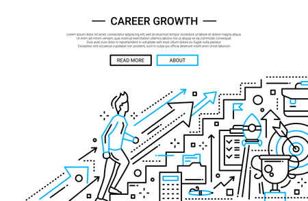 career up: Illustration of vector modern plain line flat design business composition and infographics elements with a male working his way up the career ladder