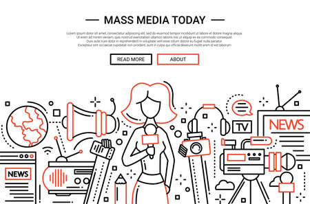 journalistic: Illustration of vector modern simple line flat design website banner, header with a journalist girl and mass media symbols Illustration