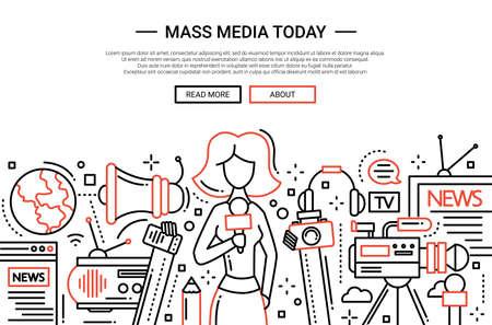 Illustration of vector modern simple line flat design website banner, header with a journalist girl and mass media symbols 矢量图像