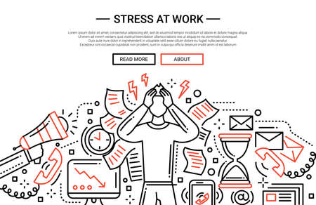 attainment: Illustration of vector modern plain line flat design business composition and infographics elements with a male having stress at work