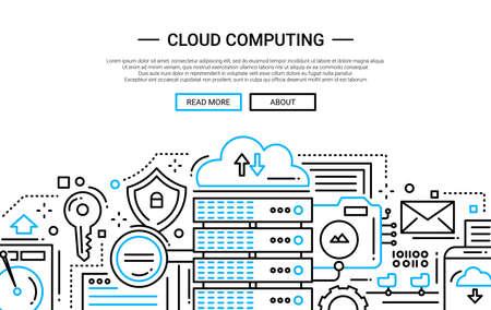 technology banner: Illustration of vector modern simple line flat design website banner, header with, server and cloud computing technology symbols Illustration