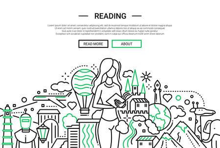 Illustration de bannière de site Web design plat vecteur ligne simple, en-tête avec des femmes