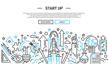 Start up - illustration of vector modern plain line design composition and infographics elements with a shuttle launch scene. Header, banner for your site. Vectores