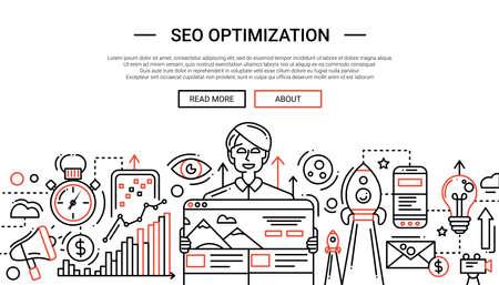 Optimización de SEO - ilustración de la composición de diseño de línea simple de vector moderna y elementos de infografía con un hombre feliz. Encabezado, banner para su sitio. Foto de archivo - 66760018